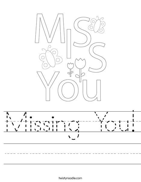 Missing You! Worksheet
