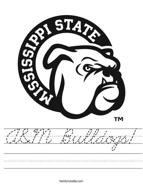 Mississippi State Bulldog Worksheet
