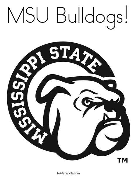 MSU Bulldogs Coloring Page Twisty Noodle