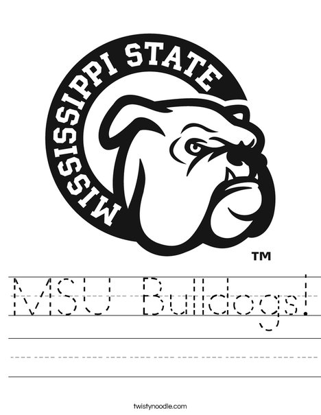 Mississippi State Bulldog Worksheet