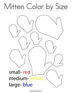 Mitten Color by Size Coloring Page