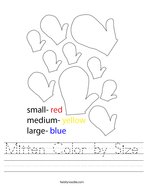 Mitten Color by Size Handwriting Sheet