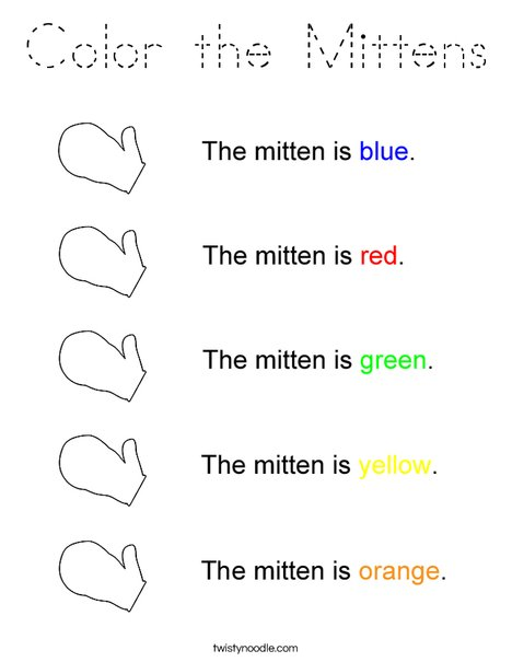 Mitten Colors Coloring Page