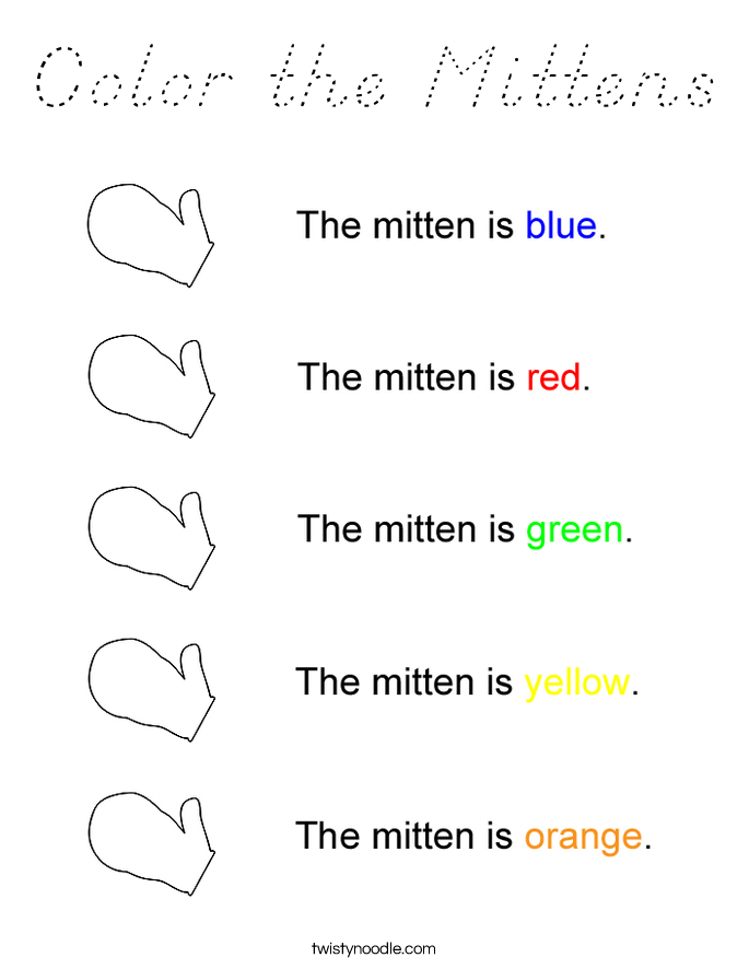 Color the Mittens Coloring Page