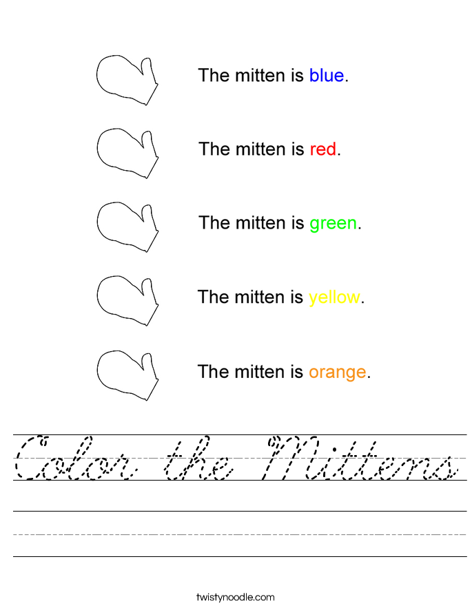 Color the Mittens Worksheet - Cursive - Twisty Noodle