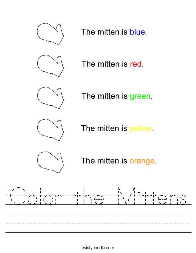 Color the Mittens Worksheet - Twisty Noodle