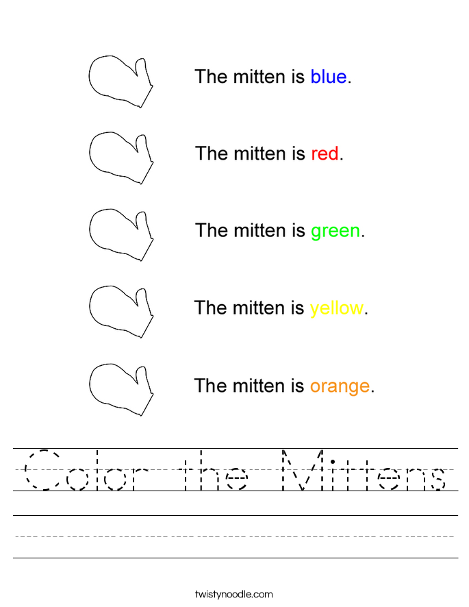 Color the Mittens Worksheet