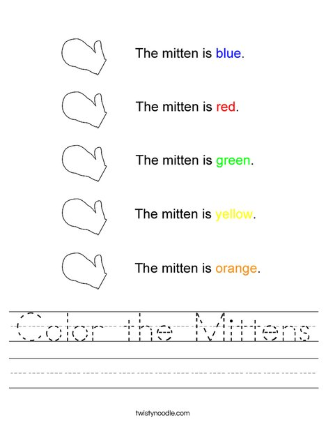 Mitten Colors Worksheet