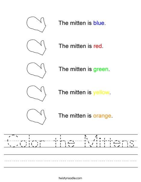 Mitten Colors Worksheet