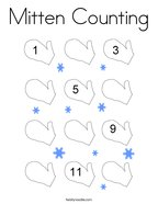 Mitten Counting Coloring Page