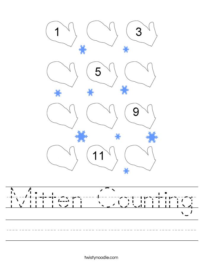 Mitten Counting Worksheet