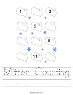 Mitten Counting Handwriting Sheet