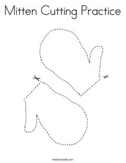 Mitten Cutting Practice Coloring Page