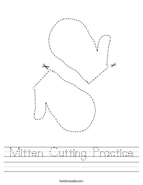 Mitten Cutting Practice Worksheet
