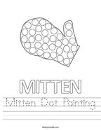Mitten Dot Painting Handwriting Sheet
