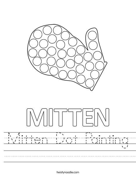Mitten Dot Painting Worksheet
