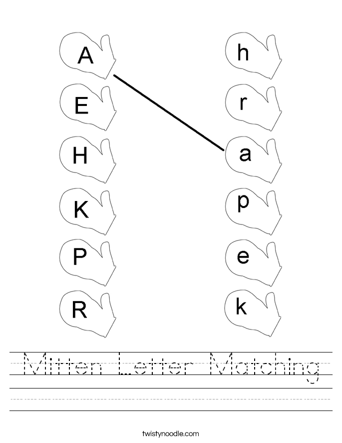 Mitten Letter Matching Worksheet