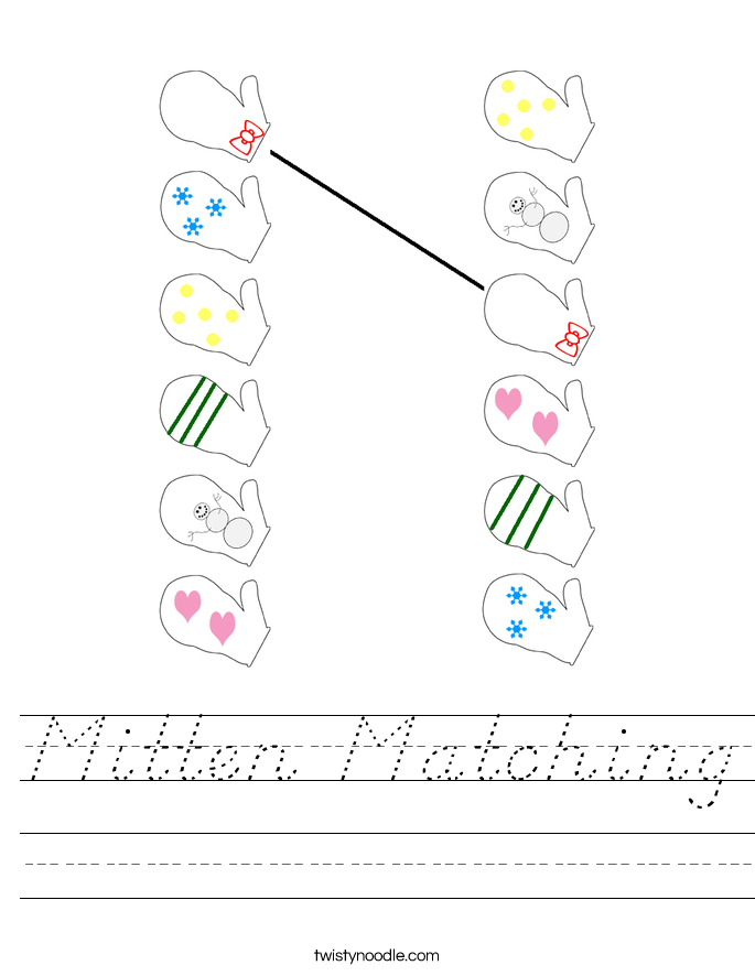 Mitten Matching Worksheet