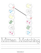Mitten Matching Handwriting Sheet