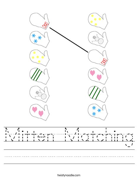 Mitten Matching Worksheet