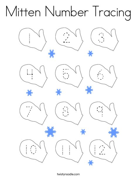 Mitten Number Tracing Coloring Page