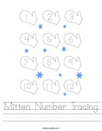 Mitten Number Tracing Handwriting Sheet