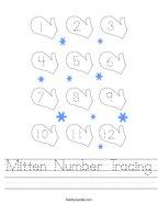 Mitten Number Tracing Handwriting Sheet