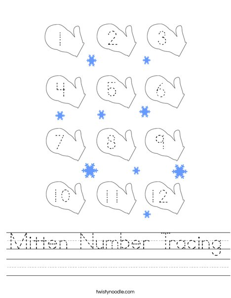 Mitten Number Tracing Worksheet