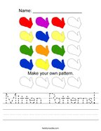 Mitten Patterns Handwriting Sheet