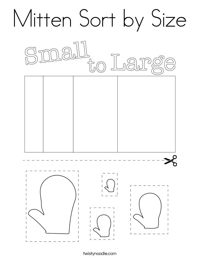 Mitten Sort by Size Coloring Page