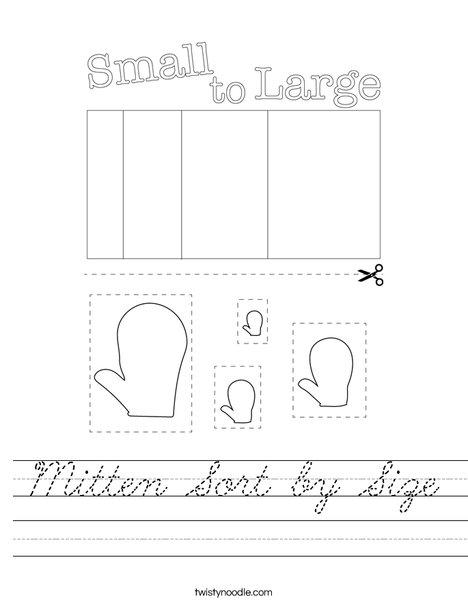 Mitten Sort by Size Worksheet