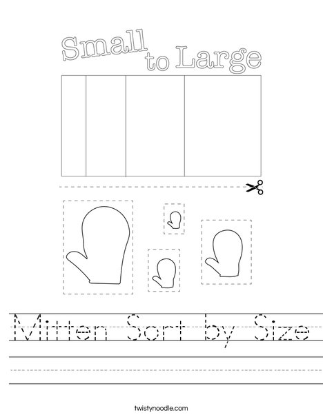 Mitten Sort by Size Worksheet