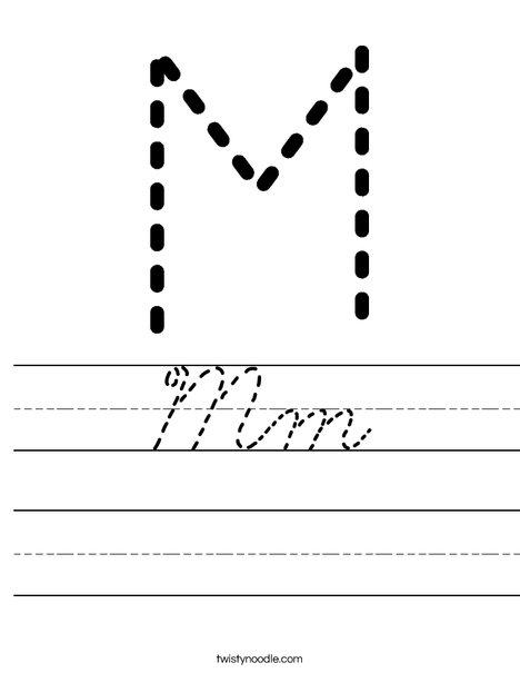 mm worksheet cursive twisty noodle. Black Bedroom Furniture Sets. Home Design Ideas
