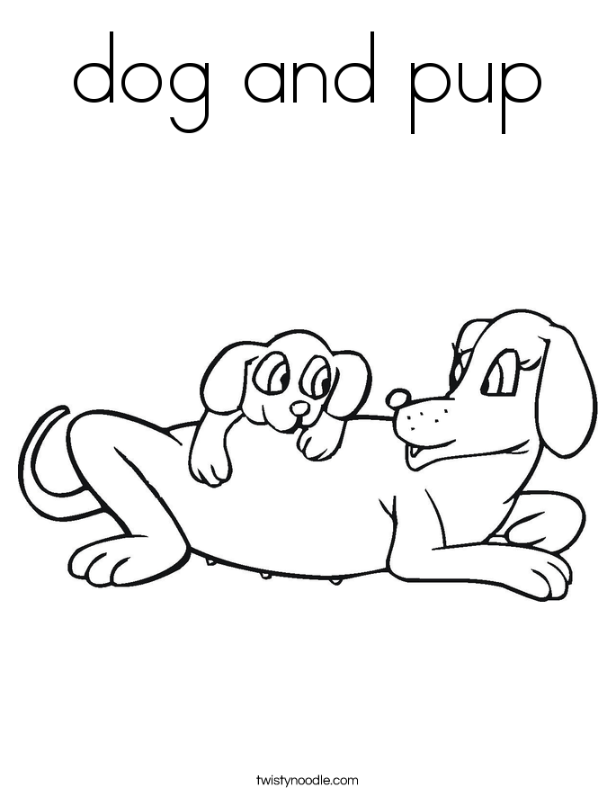 dog and pup Coloring Page
