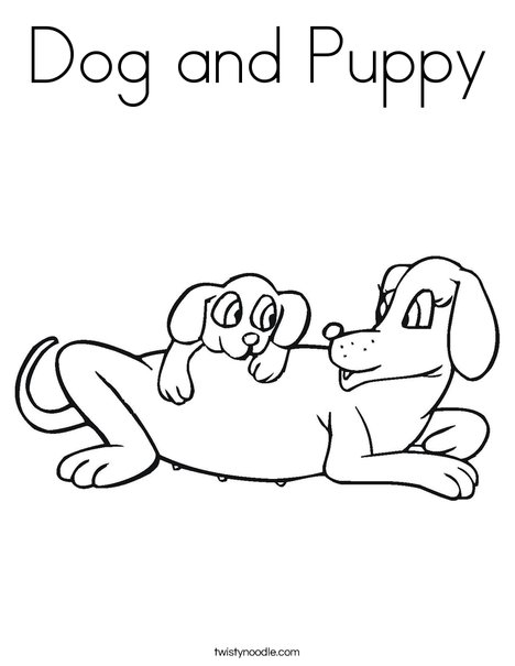 Dog and Puppy Coloring Page Twisty Noodle