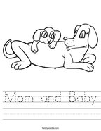 Mom and Baby Handwriting Sheet