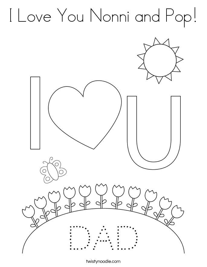 I Love You Nonni and Pop! Coloring Page