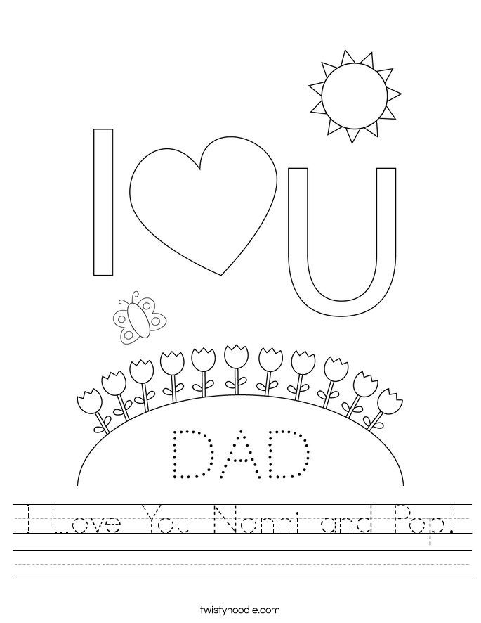 I Love You Nonni and Pop! Worksheet
