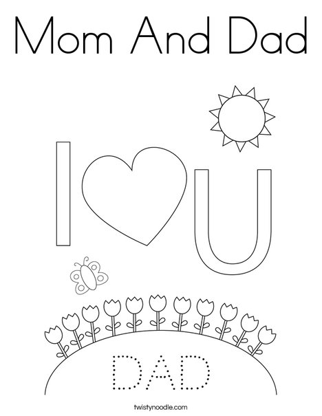 Lovely Mom And Dad Coloring Page