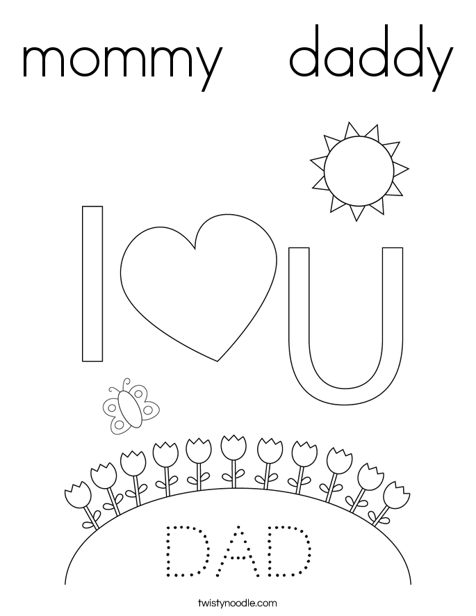 I Love You Mommy And Daddy Coloring Pages Coloring Pages