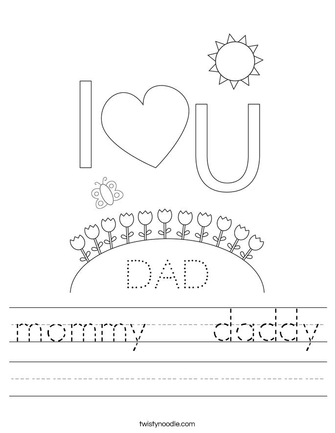 mommy   daddy Worksheet
