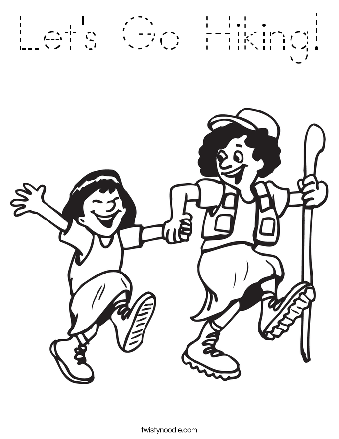Let's Go Hiking! Coloring Page