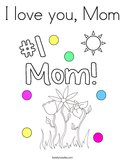 I love you, Mom Coloring Page