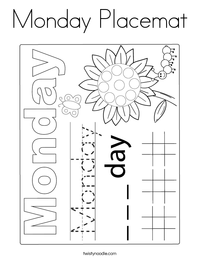 Monday Placemat Coloring Page