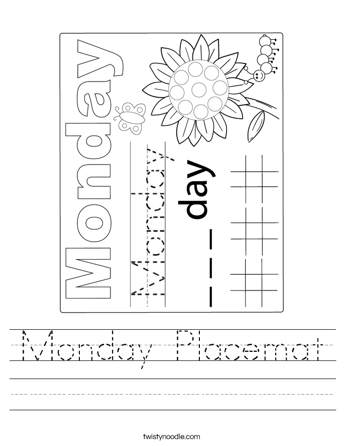 Monday Placemat Worksheet