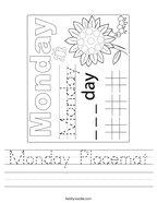 Monday Placemat Handwriting Sheet