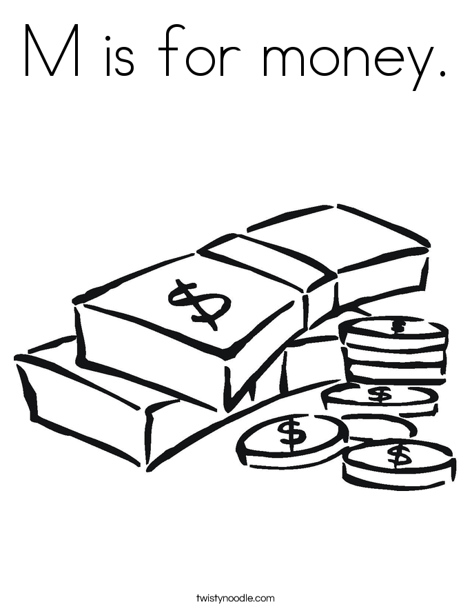 M is for money. Coloring Page