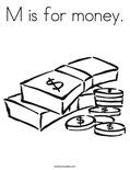 M is for money.Coloring Page