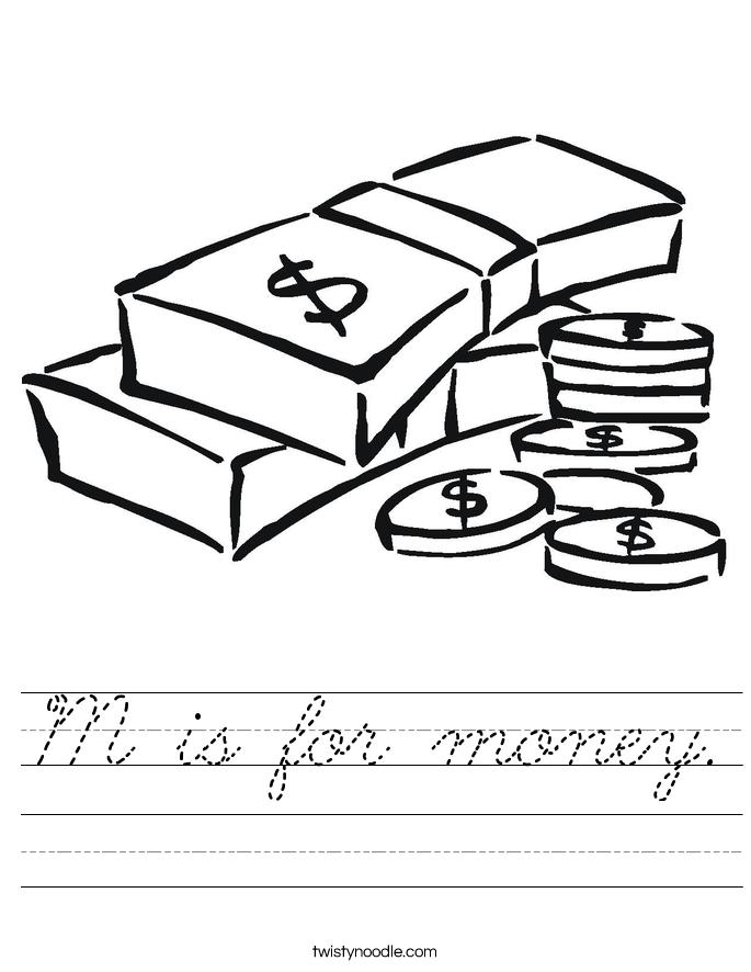 M is for money. Worksheet