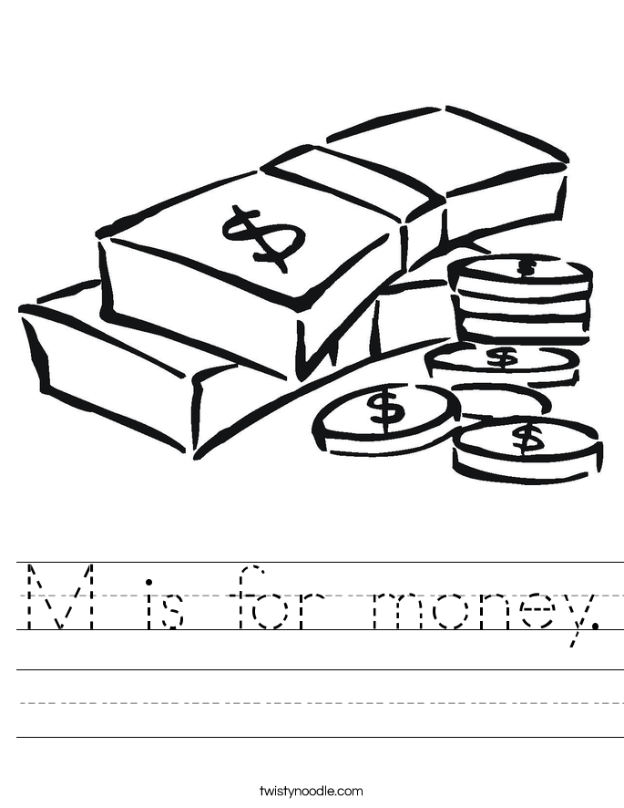 M is for money. Worksheet